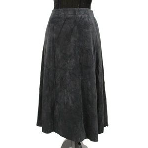 Vintage Leather Suede A Line Skirt